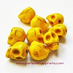 Tête de mort, skull, howlite jaune 10mm, pour bijoux, perles et apprêts