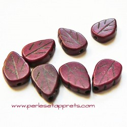 Perle feuille howlite prune bordeaux 13mm, pour bijoux, perles et apprêts