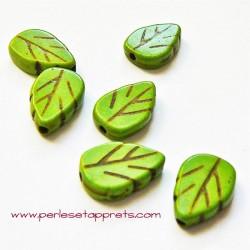Perle feuille howlite vert 13mm, pour bijoux, perles et apprêts