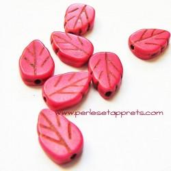 Perle feuille howlite rose 13mm, pour bijoux, perles et apprêts