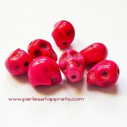 Tête de mort, skull, howlite rose 10mm, pour bijoux, perles et apprêts