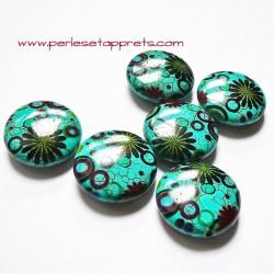 Perle en turquoise ronde fleur 25mm pour bijoux, perles et apprêts