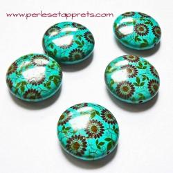 Perle en turquoise ronde petite fleur 25mm pour bijoux, perles et apprêts