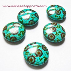Perle en turquoise ronde petite fleur 25mm