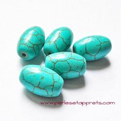 Perle ovale en turquoise 17mm pour bijoux, perles et apprêts