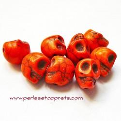 Tête de mort, skull, howlite orange 10mm, pour bijoux, perles et apprêts
