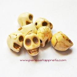 Tête de mort, skull, howlite ivoire 10mm, pour bijoux, perles et apprêts