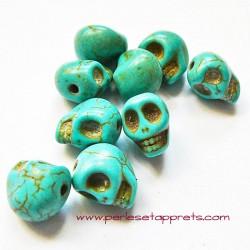 Tête de mort, skull, howlite turquoise 10mm, pour bijoux, perles et apprêts