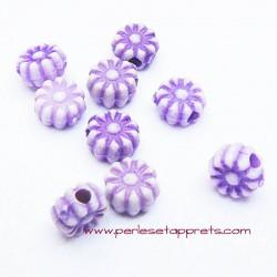 Perle synthétique fleur violet 6mm