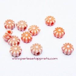 Perle synthétique fleur orange 6mm