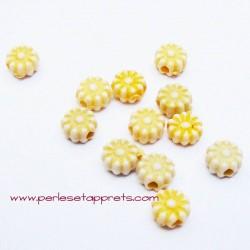 Perle synthétique fleur jaune 6mm