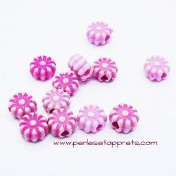 Perle synthétique fleur fuchsia 6mm