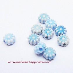 Perle synthétique fleur bleue 6mm