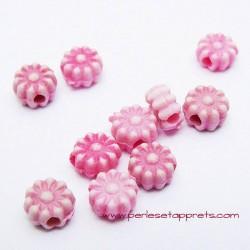 Perle synthétique fleur rose 6mm