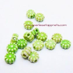 Perle synthétique fleur verte 6mm