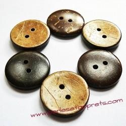 Bouton rond en noix de coco 23mm, pour la couture, bijoux, perles et apprêts