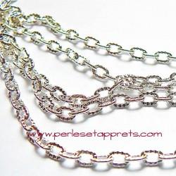 Chaîne ciselée à maille forçat 3mm, en métal argent, pour bijoux, perles et apprêts