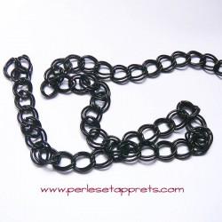 Chaîne double anneau 10mm noir, pour bijoux, perles et apprêts