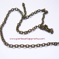 Chaîne maille forçat 4mm bronze laiton, pour bijoux, perles et apprêts