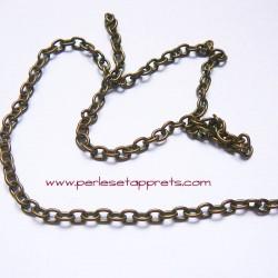 Chaîne maille forçat 3mm bronze laiton, pour bijoux, perles et apprêts