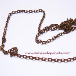 Chaîne maille forçat 3mm cuivre bronze pour bijoux, perles et apprêts