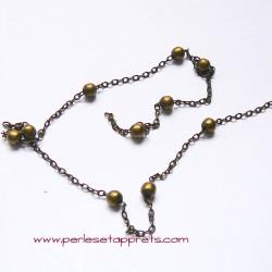 Chaîne bille maille forçat 3mm bronze laiton, pour bijoux, perles et apprêts