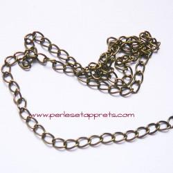 Chaîne maille gourmette 5mm bronze laiton, pour bijoux, perles et apprêts