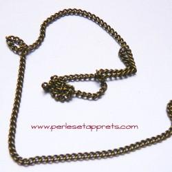 Chaîne maille gourmette 2mm bronze laiton, pour bijoux, perles et apprêts