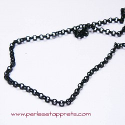 Chaîne maille forçat 3mm noir pour bijoux, perles et apprêts