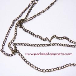 Chaîne maille gourmette 3mm bronze laiton, pour bijoux, perles et apprêts
