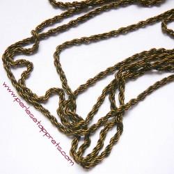 Chaîne torsadée 3mm bronze laiton, pour bijoux, perles et apprêts