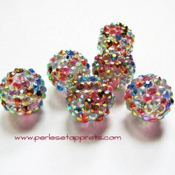 Perle shamballa 18mm transparent strass