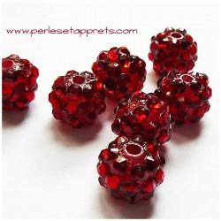 Perle shamballa ronde rouge strass 12mm