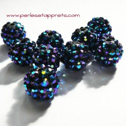 Perle shamballa ronde noir bleu strass 14mm