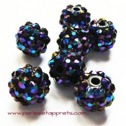 Perle shamballa 12mm noir strass bleu