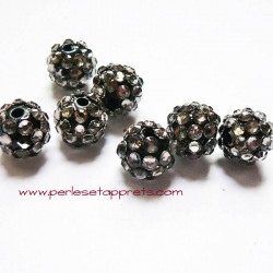 Perle shamballa ronde gris argent strass 12mm