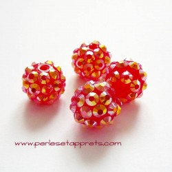 Perle shamballa ronde rouge or strass 12mm