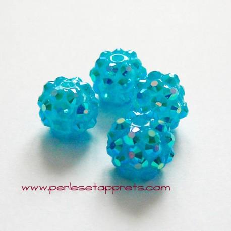 Perle shamballa ronde turquoise strass 12mm, pour bijoux, bracelet, perles et apprêts