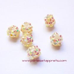 Perle shamballa ronde blanc strass 12mm