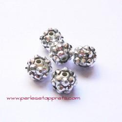 Perle shamballa 10mm argent strass