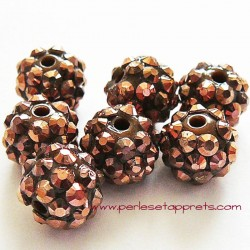 Perle shamballa 12mm marron strass