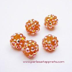 Perle shamballa ronde orange strass 10mm
