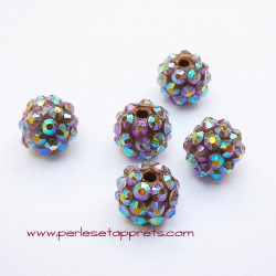Perle shamballa ronde orange strass 10mm