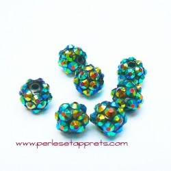 Perle shamballa ronde noir bleu strass 12mm