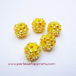 Perle shamballa ronde jaune strass 12mm