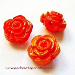 Perle synthétique rose orange 16mm pour bijoux, perles et apprêts
