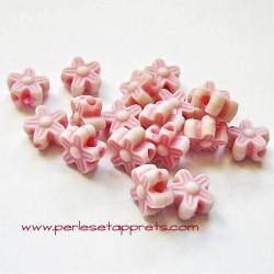 Perle synthétique fleur rose 8mm pour bijoux, perles et apprêts