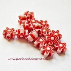 Perle synthétique fleur rouge 8mm pour bijoux, perles et apprêts