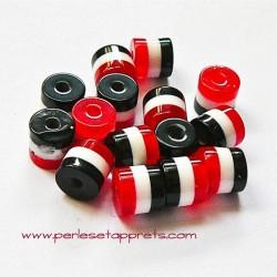 Perle synthétique cylindrique rouge blanc noir 6mm pour bijoux, perles et apprêts