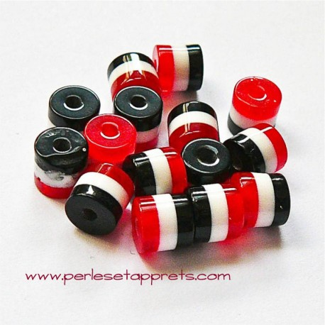 Perle synthétique cylindrique rouge blanc noir 6mm